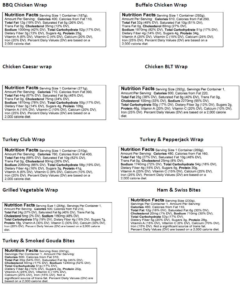 wraps menu